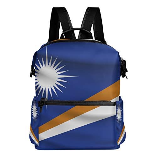 Marshall Islands Flag Unisex Rucksack Canvas Satchel Casual Daypack,School College Student Backpack