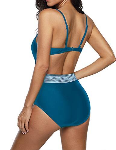 Anguang Womens Plunge V-Neck Halter One Piece Swimsuit Swimwear Cutout Monokini Bathing Bikini Suit Blue XL