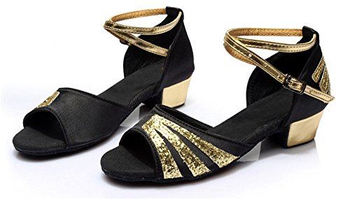 Gold Glittering Strap Satin Latin Dance Shoes for Girls Soft Soled Low Heels(2, Black) by staychicfashion (Image #1)