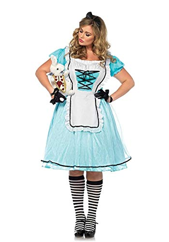 Leg Avenue Womens Plus Size Alice in Wonderland Costume, Blue/White