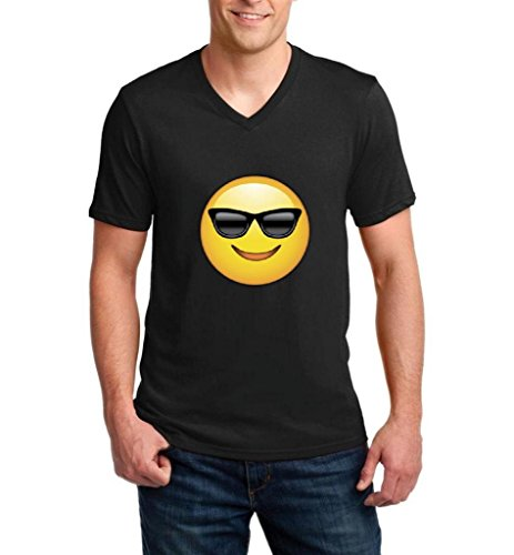 ARTIX Emoji With Sunglasses Fashion People Couples Gifts Best Friend Gifts Ringspun Men V-Neck T-Shirt Small - Sunglasses Chive