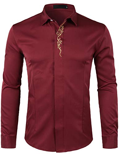 WHATLEES Men's Hipster Gold Embroidery Slim Fit Long Sleeve Tuxedo Dress Shirts T28 Wine Red Large ()