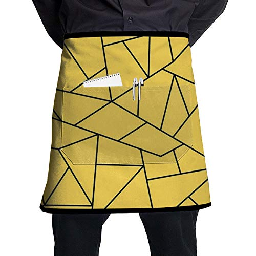 Readgy Mustard Yellow Black Mosaic Lines Customized Half-Length Apron with Pockets Unisex for Kitchen Restaurant -