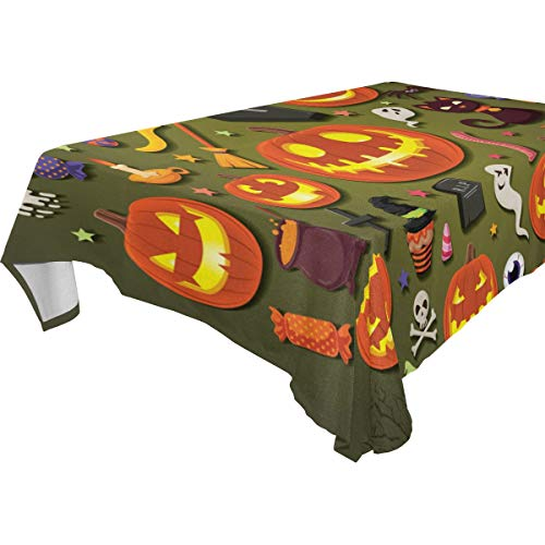 WIHVE Tablecloth Halloween Skull Head Witch Jack-O'-Lantern Rectangle Tablecloth Print Fabric Water Resistant Wrinkle Free Wipeable Tablecloths Dinner Picnic Table Cloth Home Decor 54x72 Inch