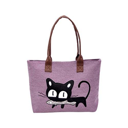 Kolylong New Fashion Women Shoulder Bag Canvas Bag Cute Cat Bag Office Lunch Bag (Purple) Purple