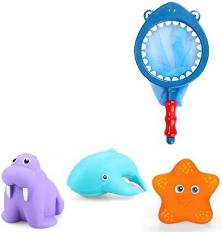 HuaQingPiJu-JP 3つのPCS子供のかわいい動物のサメバスタブのセットトイレのバス釣りおもちゃの水遊びのおもちゃ