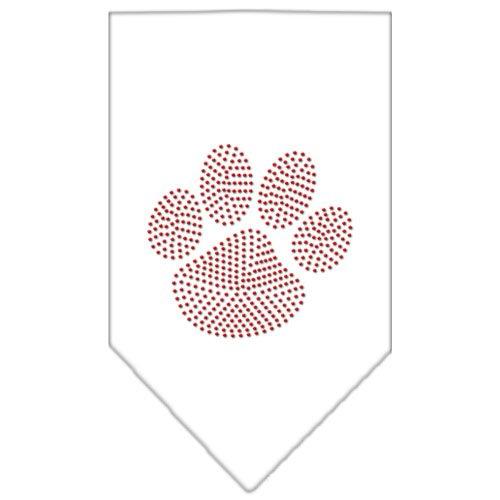 Mirage Pet Products Paw Red Rhinestone Bandana, Large, White