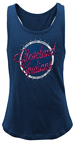 OuterStuff MLB Cleveland Indians Girls 7-16 Shine Bright Tank-L (14) (Cleveland Indians Shirt)