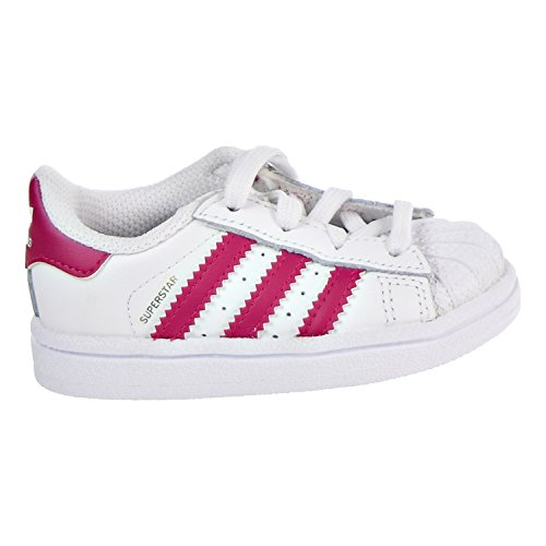 Price comparison product image adidas Originals Kids' Superstar I Sneaker, White/Bold Pink/White, 5 M US Toddler