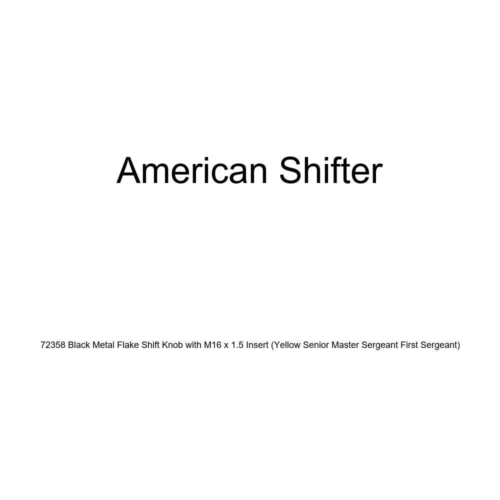 American Shifter 72358 Black Metal Flake Shift Knob with M16 x 1.5 Insert Yellow Senior Master Sergeant First Sergeant