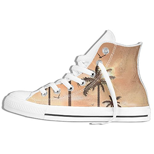 Classic High Top Sneakers Canvas Shoes Anti-Skid Palm Trees Casual Walking For Men Women White 9Dklm9h