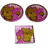 Baby's 1st Birthday Pink Girl's Teddy Bear Bundle Plates (16) Napkins (16)