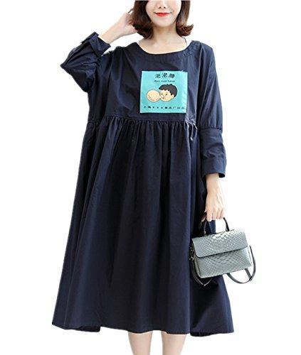 YESNO QT6 Women Casual Loose Shirts Blouse Knee Dress Funny Cartoon Printed Gathered Waist Long Kimono Sleeve Large Skirt ()