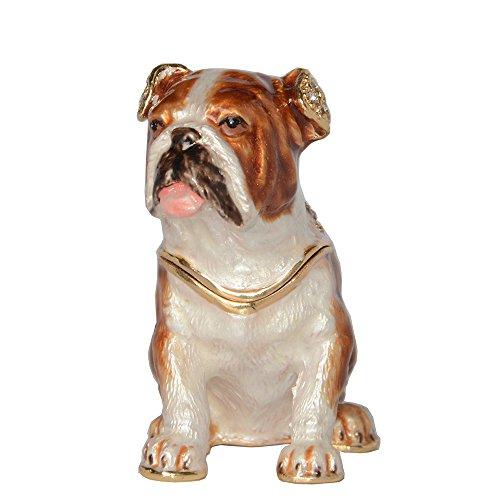 - Bulldog Jewelry Trinket Box Crystals Jeweled Dog Figurine Pewter Enamel Animal Decor