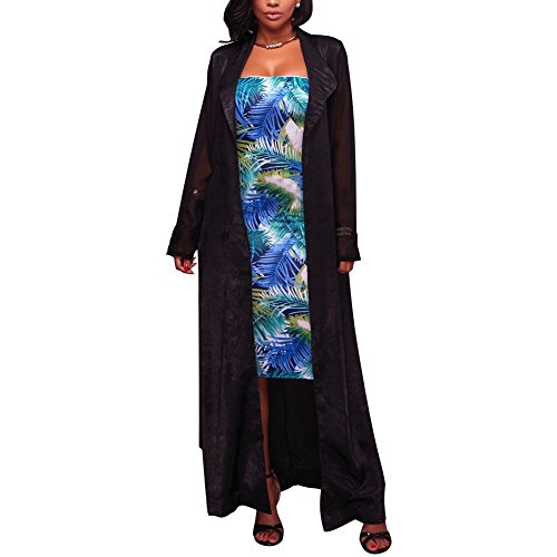 Black Duster Jacket - Women Long Sleeve Chiffon Cardigan with Belt Duster Cardigan Outfit Black M