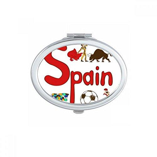 DIYthinker Spain National symbol Landmark Pattern Oval Compact Makeup Mirror Portable Cute Hand Pocket Mirrors Gift by DIYthinker