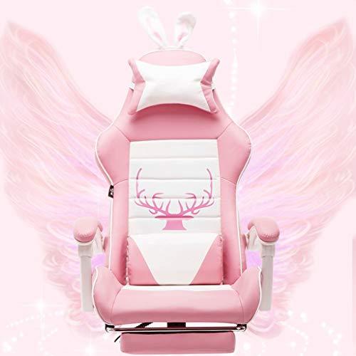 Datorstol möbler/hem kontor möbler rosa mötesstol med 4 ryggstödsjusteringar hem flicka spelstol ergonomisk stol, PU-läder