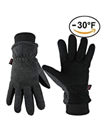 OZERO Winter Gloves Coldproof Wind Proof Insulated Glove with Deerskin Suede Leather Palm and Thermal Polar Fleece Back for Driving Cycling Skiing - Hand Warmers in Cold Weather for Men and Women
