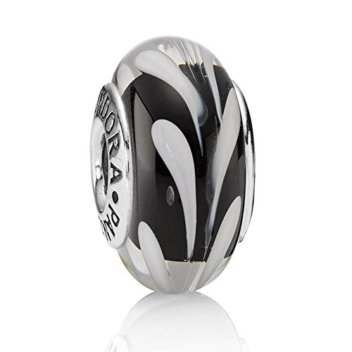 "Authentic ""Retired"" Murano Glass Crystal Charm Bead for Pandora Bracelets Black /white Swirly Swirl 790676 Threaded Core 925 Sterling Silver for Chamilia Too"