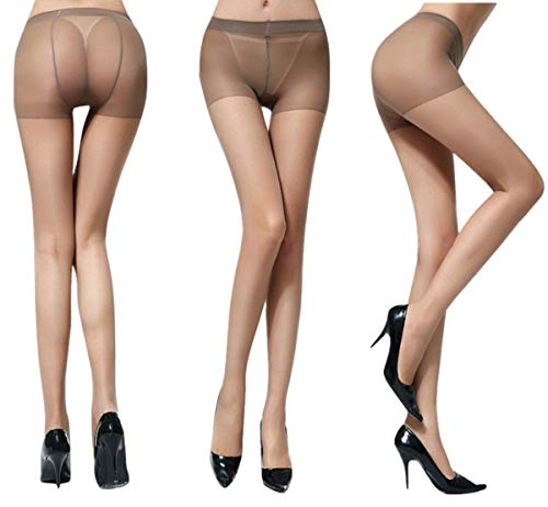 Kffyeye 10D Women's Control Top Thickness Stockings Pantyhose, Ultra Shimmery Stretch Plus Footed...