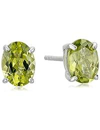 Sterling Silver Gemstone Oval Stud Earrings