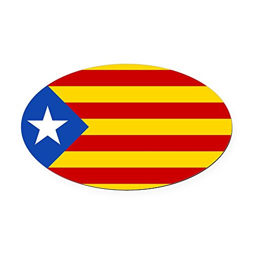 Catalan Flag (CafePress - LEstelada Blava Catalan Independence Flag Oval Car - Oval Car Magnet, Euro Oval Magnetic Bumper Sticker)