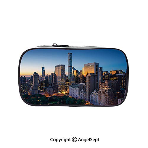 Bag Pen Case Felt Students Stationery Pouch Zipper Bag,Sun Rising Over Central Park in Manhattan Tranquil Morning Skyscrapers Blue Marigold Dark Green 5.1inches,for Pens,Pencils,and Other School Supp -