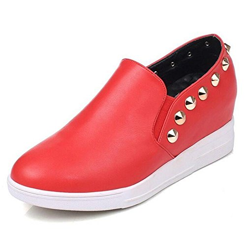 LDMB Printemps et l'automne rivets mi Wedge chaussures à talons unique chaussures cusp occasionnels chaussures de cour de dames , red , 37