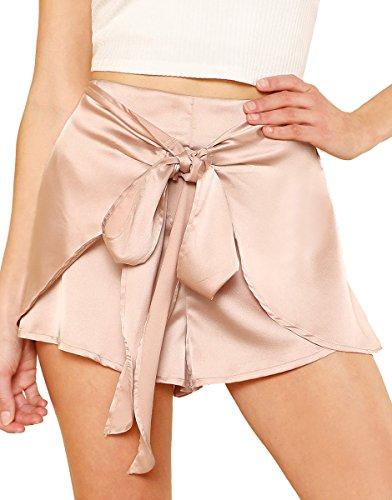 Romwe Women's Casual Tie Knot Summer Shorts Elegant Walking Shorts