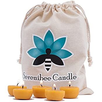 Beeswax tea lights candles pure, hand-poured refills with reusable glass candle holders in organic cotton gift bag - Serenibee Candle (24)