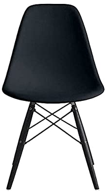 2xhome Set of Two (2) - Eames Style Side Chair Eiffel Dining Room Chair - Lounge Chair No Arm Arms Armless Less Chairs Seats Wooden Wood Leg Wire Leg Dowel Leg Legged Base