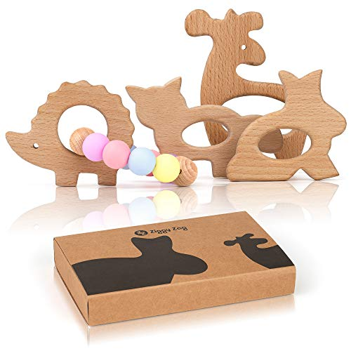 (ZiggyZag Baby Forest Buddies Wooden Baby Teething Toys | Relieve Pain & Boost Baby's Development | Satisfies Chewing Instinct Safely | Natural Non-Toxic Beechwood | 4 PC Baby Teether Animal Shapes)