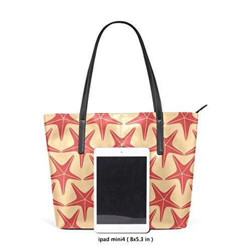 COOSUN Seesterne Muster PU Leder Schultertasche Handtasche und Handtaschen Tasche für Frauen