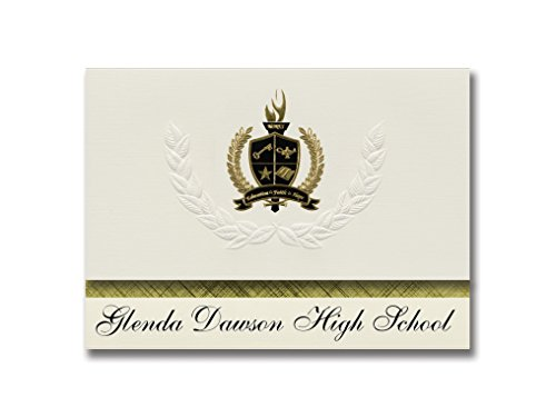 Signature Announcements Glenda Dawson High School (Pearland, TX) Graduation Announcements, Presidential style, Basic package of 25 with Gold & Black Metallic Foil - Pearland Tx