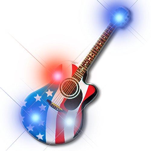 - Light Up Patriotic American Guitar Flashing Blinking LED Body Light Lapel Pins (25-Pack)