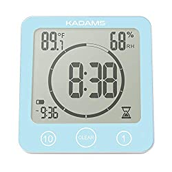 KADAMS Digital Bathroom Shower Kitchen Wall Clock Timer with Alarm, Waterproof for Water Spray, Touch Screen Timer, Temperature Humidity, Suction Cup Hanging Hole Stand (Blue)