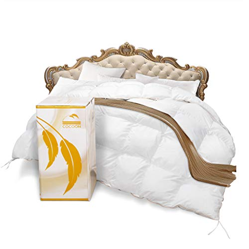 COCOON Premium Luxurious Goose Down Comforter Queen 100% Egyptian Cotton Thread 750+ Fill Power - Siberian Goose Feathers All Season Down Comforter Hypo-Allergenic Down Duvet