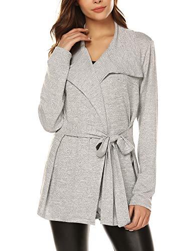 URRU Women's Basic Long Sleeve Belted Classic Sweater Knit Cardigan Gray S Belted Long Sleeve Sweater