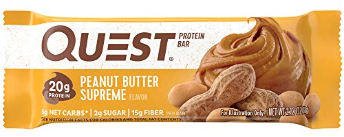 Quest Nutrition Peanut Butter Supreme Protein Bar, High Protein, Low Carb, Gluten Free, Soy Free, Keto Friendly, 12 Count