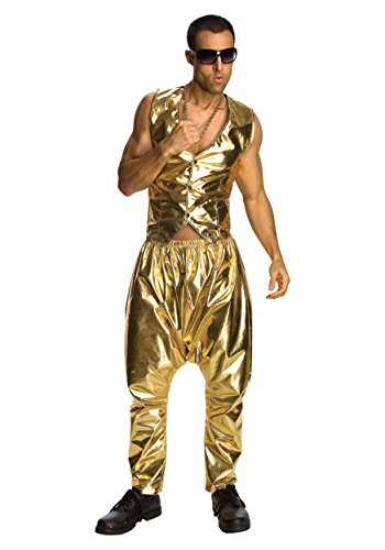 Best Mens 80's Costume (Rubie's Costume Mc Hammer Lame Pants, Gold, One Size)
