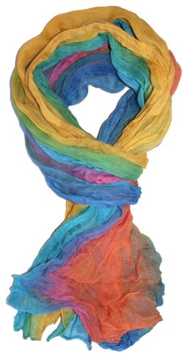 LibbySue-Ombre Watercolor Wash Crinkle Scarf in Multiple Colors (Rainbow)
