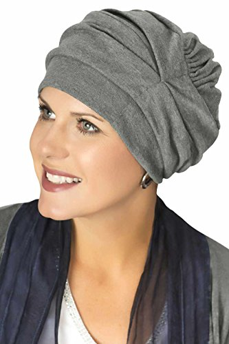 100% Cotton Trinity Turban - 3 Looks in One! Slouchy Chemo Hats for Cancer Patients Charcoal Heather (Accessories Headcovers)