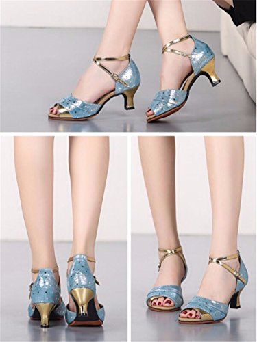 Sqiao-x- Kraft Chaussures De Danse En Caoutchouc Fond Plat Boucle Fond Souple, Pour Les Adultes Danse Latine Square Dance Professional Chaussures De Danse, Bleu (5,5 Cm), 37