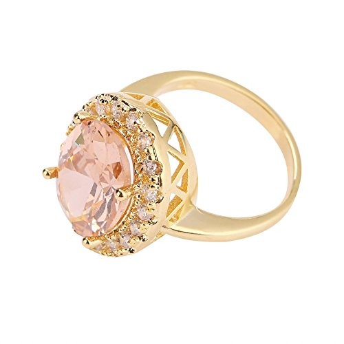 Rings for Women, Large Fashionable Round Morganite Zircon Jewelry Filled Ring Gift (9)