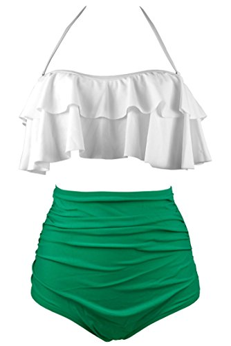 COCOSHIP Creamy White & Green Solids Retro Boho Flounce Falbala High Waist Bikini Set Chic Swimsuit Swimwear ()