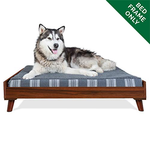 Furhaven Pet Dog Bed Frame   Mid-Century Modern Style Bed Frame Furniture for Pet Beds & Mattresses, Walnut, Jumbo
