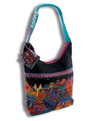 Things2die4 Cotton Womens Hobo Handbags Laurel Burch `Fantasticats` Medium Canvas Hobo Bag Multicolored Model # LB5233