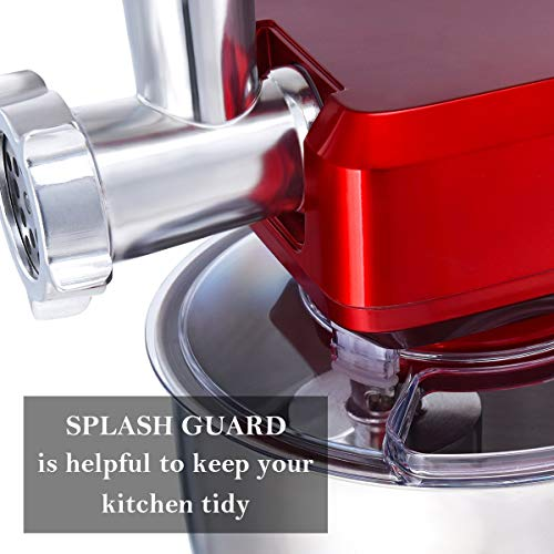 COSTWAY 3 In 1 Upgraded Stand Mixer with Stainless Steel Bowl Blender Meat Grinder Sausage Stuffer(RED) by COSTWAY (Image #7)