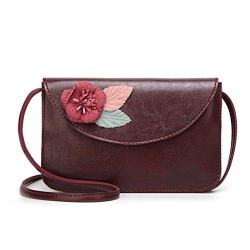 colore Donna Quadrato Retrò Bag Leather Rosso Borsa Diagonale Pu A Piccolo Della 5 Spalla Fiore 3 qpOInw