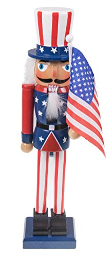 Clever Creations Uncle Sam Nutcracker Comes with American Flag | Traditional Patriotic Christmas Decorative Nutcracker | 100% Wood | Perfect for Shelves and Tables | 15